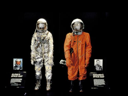 Glenn and Gagarin Spacesuits in Space Race