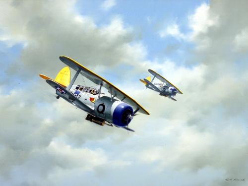Painting of Curtiss Helldivers by R.G. Smith
