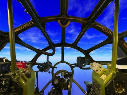 Panormaic photograph of Boeing B-29 Superfortress Enola Gay cockpit