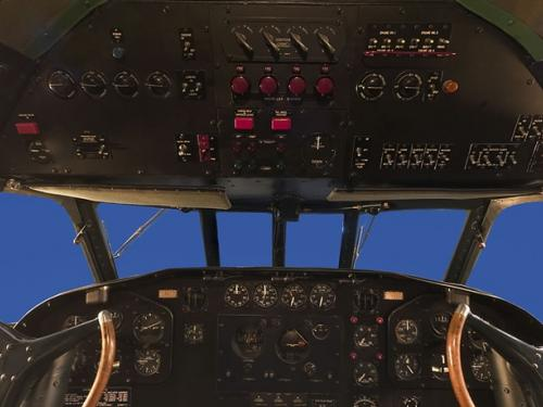 Panoramic photograph of Boeing 307 Stratoliner cockpit