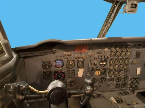 Panoramic photograph of Boeing 367-80 Jet Transport cockpit