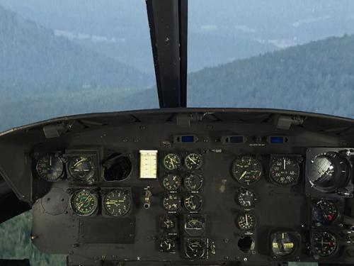 Bell UH-1H Iroquois Huey cockpit panoramic photography