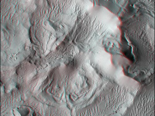 3D Anaglyph of Complex Terrain in Lycus Sulci