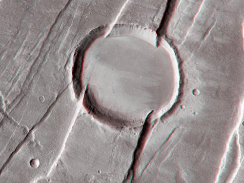 3D Anaglyph of Tantalus Fossae on Mars
