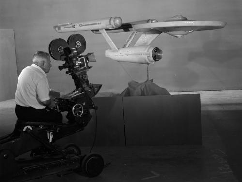 Star Trek starship Enterprise studio model being filmed
