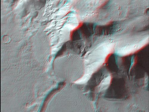 3D Anaglyph of Mars Flow Deposit