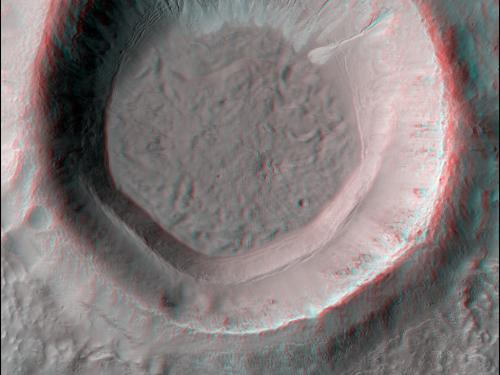 3-D Anaglyph of Gullies in Small Crater