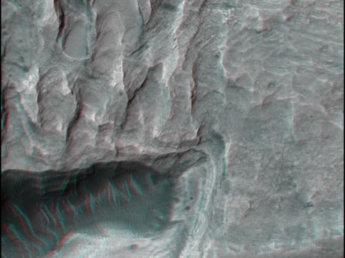 3-D Anaglyph of Large Dunes on Valley Floor