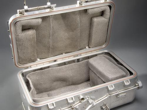 View of Apollo Lunar Sample Return Container opened for display
