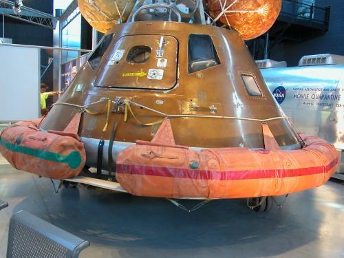 Apollo 11 Flotation Collar displayed on apollo capsule testbed