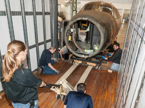 Moving the Martin B-26B Marauder Flak-Bait's Forward Fuselage