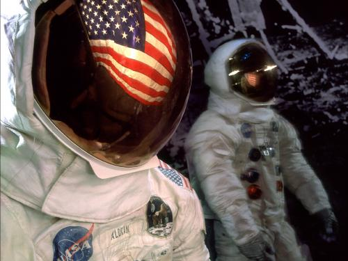 Mosaic of Apollo 11 Armstrong and Aldrin Spacesuits on display