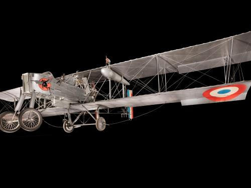 Gray box-shaped Voisin Type 8 biplane