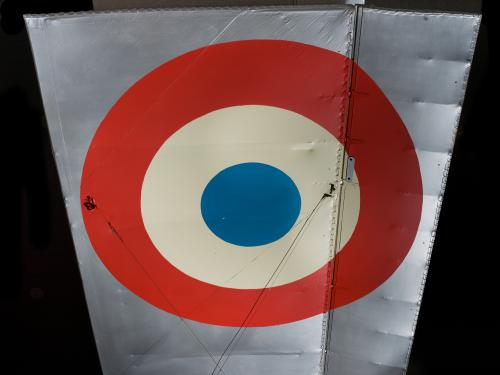Red, white, and blue United States Air Force roundel on wing of Voisin Type 8 aircraft