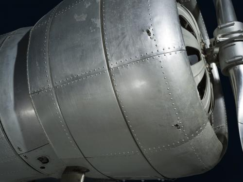 Front engine of metal Northrop Gamma Polar Star aircraft