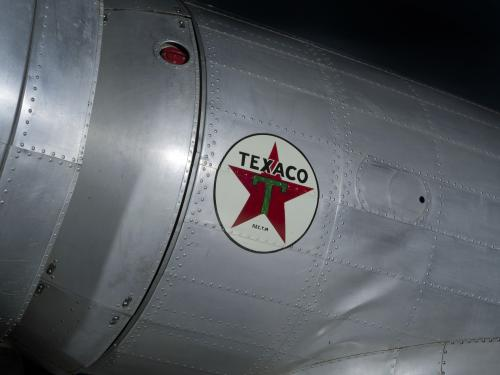 Texaco logo with red star in center of white circle on Northrop Gamma Polar Star aircraft