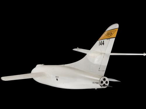 Rear view of white rocket-shaped Douglas D-558-2 aircraft