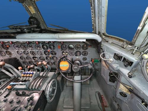 Interior view of the Douglas DC-7 from the Co-pilot's seat.