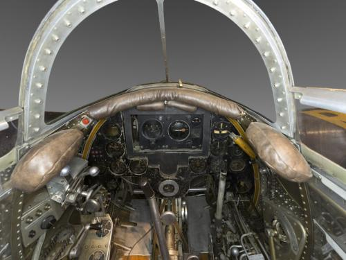 Panoramic interior view of aircraft cockpit