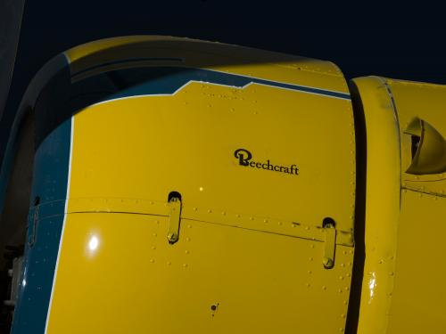"Beech Aircraft Corporation logo on side of Staggerwing engine, ""Beechcraft"""