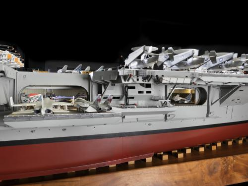 Aircraft elevator and hangar deck of USS Enterprise Aircraft Carrier Model
