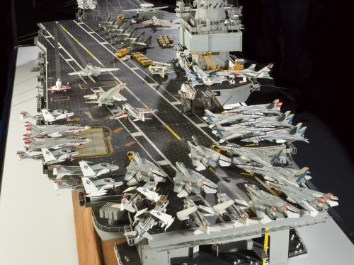Stern of USS Enterprise Aircraft Carrier Model with jets
