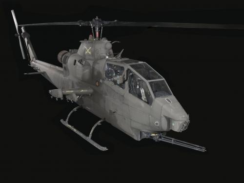 Bell AH-1F Cobra helicopter with machine gun in front