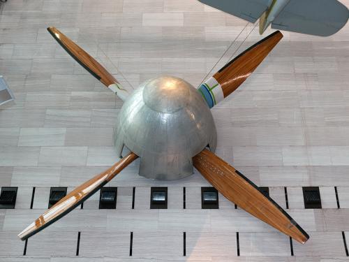 NACA Wind Tunnel Fan on display in the Boeing Milestones of Flight Hall