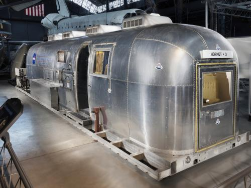 Silver Airstream trailer used for quarantine of Apollo