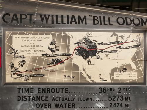 Detail on airplane shows the airplane's route and it's captain.