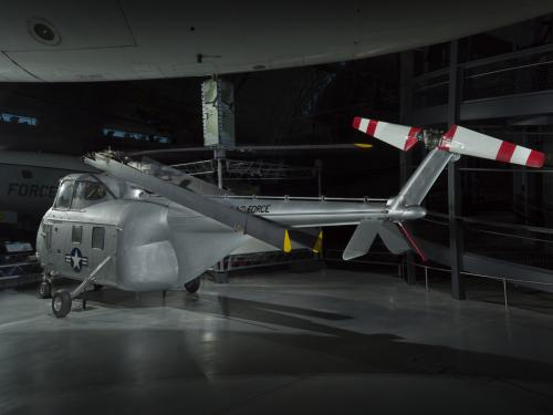 Rear view of a helicopter on display in the museum.