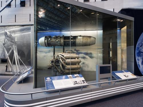Junkers Jumo 004 B4 Turbojet Engine and Whittle W1X Engine on display in the Boeing Milestones of Flight Hall
