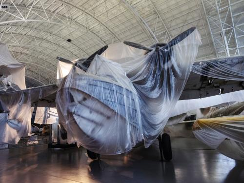 Plane wrapped in plastic
