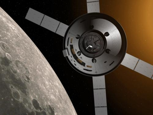 A rendering of the Orion Vehicle that will be transporting astronauts as part of the Artemis Program.