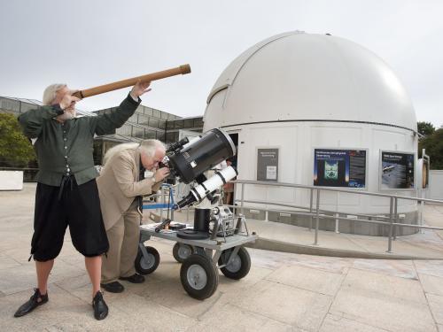 Galileo and Dr. DeVorkin Stargaze Outside of the Public Observatory
