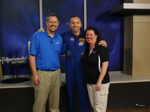 Hosts Beth and Marty with Astronaut Bresnik