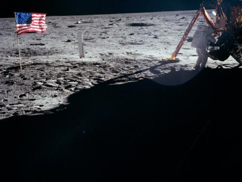 Apollo 11 flag, Lunar Module and Armstrong on the Moon