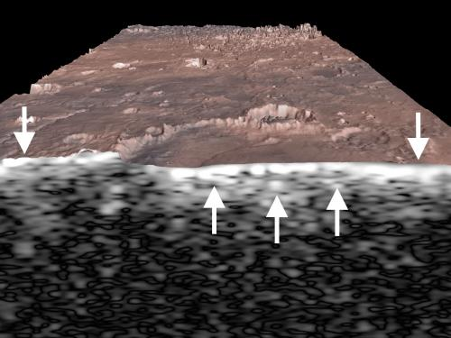Subsurface view of Miyamoto crater in Meridiani Planum