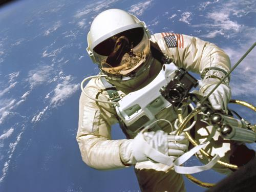 Astronaut Ed White Outside of the Gemini IV Spacecraft