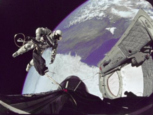 Astronaut Ed White in Space as Seen from the Gemini IV Spacecraft