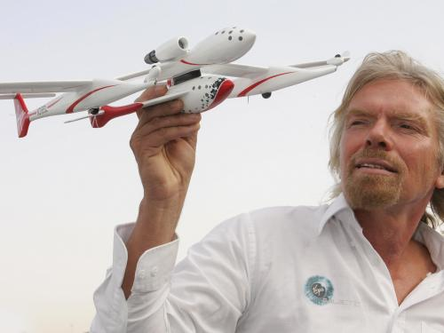 Richard Branson with Model of SpaceShipOne