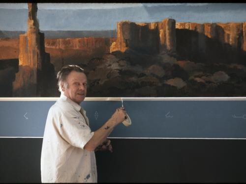 Artist Eric Sloane Working on the Earth Flight Environment  Mural