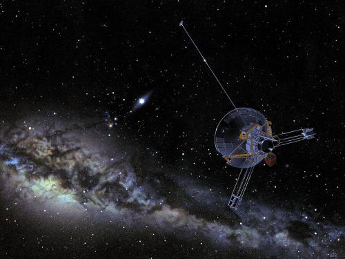 Illustration Showing a Pioneer Spacecraft in Flight