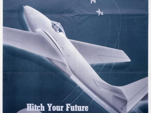 Army Air Forces Recruitment Poster featuring a P-59 Airacomet