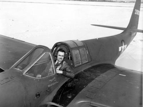 Bell XP-59A Airacomet and test pilot Robert M. Stanley