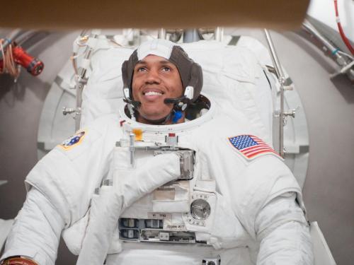 NASA astronaut Alvin Drew, spacesuit fit check