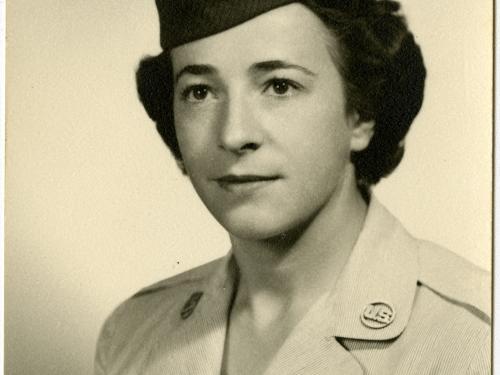 Formalstudio portrait of Helen G. James, in uniform.