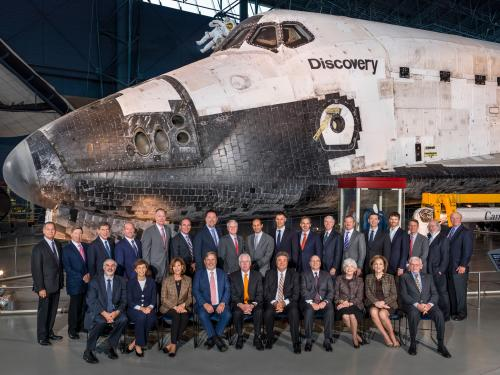 Group photo in front of Space Shuttle Discovery.