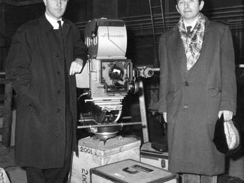Film advisers Fred Ordway (left) and Jack Good (right) on the set of 2001, ASpace Odyssey.