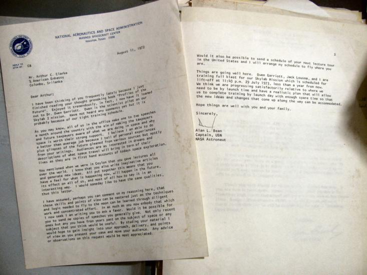 Alan Bean Letter to Arthur C. Clarke